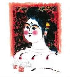 St Louis Hibiscus Woman by Shikō Munakata